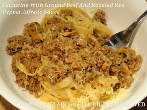 Fettucine With Ground Beef And Roasted Red Pepper Alfredo Sauce