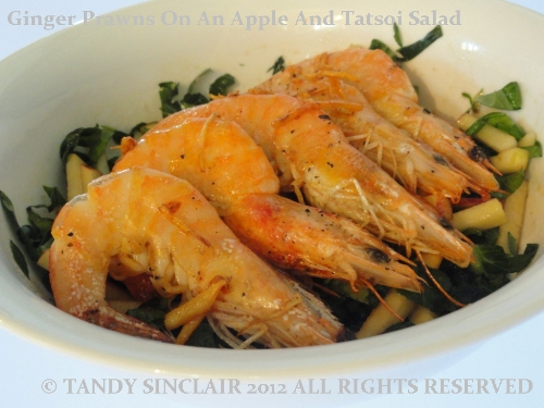 Ginger Prawns On An Apple And Tatsoi Salad