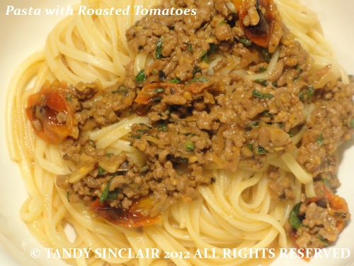 """Pasta with Roasted Tomatoes"""