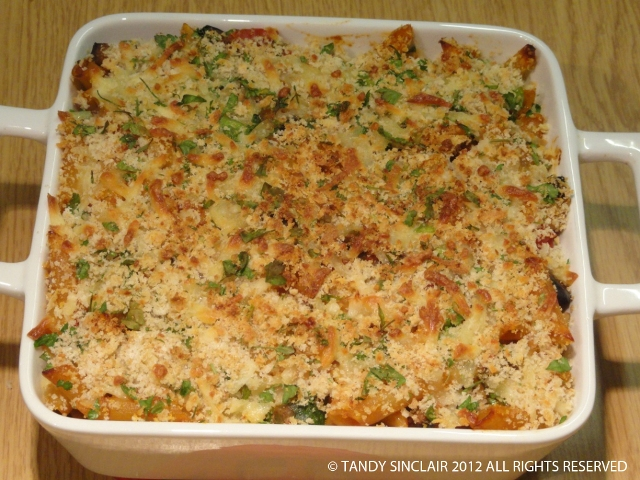 baked penne with aubergine, courgette and sun-dried tomato