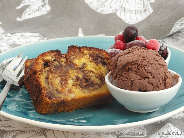 Chocolate Marmalade Marble Cake With Chocolate Semifreddo