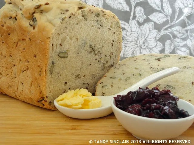 """Sourdough Bread and Black Cherry & Thyme Jam"""