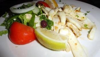 grilled Greek calamari at The Kingfisher Restaurant