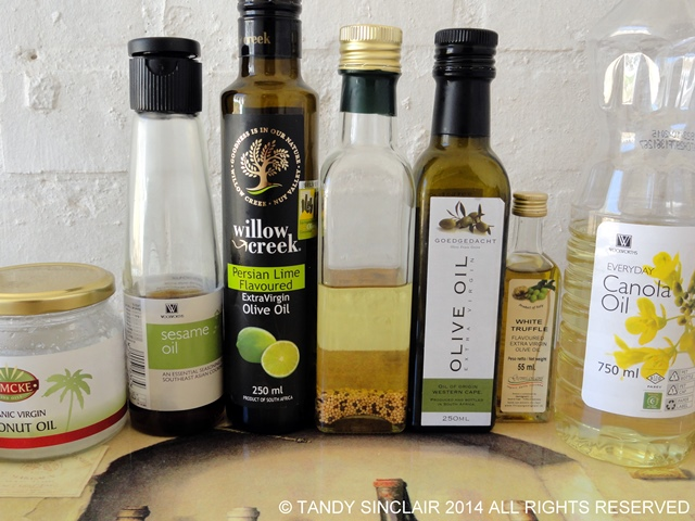 A selection of oils for Stocking A Pantry Cupboard