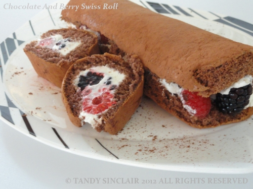 Chocolate And Berry Swiss Roll