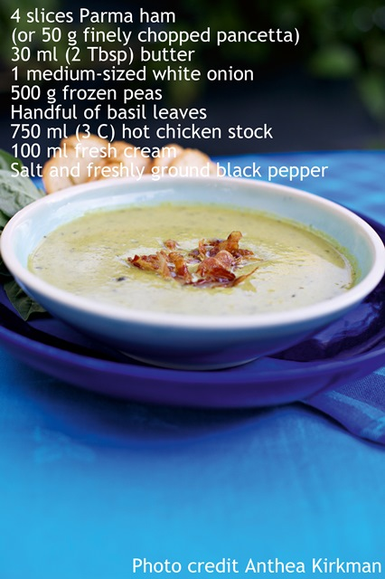 Perfect pea soup with Parma ham - Extracted from Food For Your Brood by Sam Gates (Struik Lifestyle)