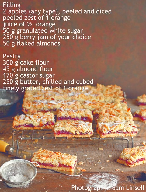 apple and blueberry jam bars - Extracted from Sweet by Sam Linsell (Struik Lifestyle)