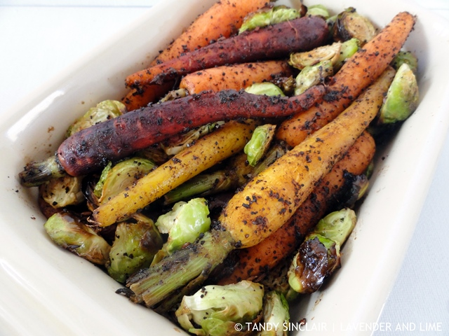 Roasted Brussels Sprouts With Coffee And Cumin Carrots