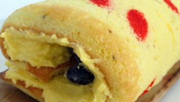 Decorated Swiss Roll Filled With Butter Cream