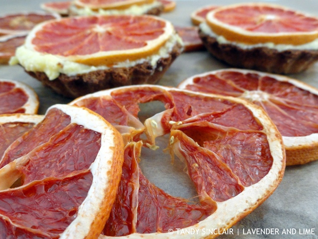 Dried Grapefruit Topped Lemon Curd Tarts Using Microwave Curd