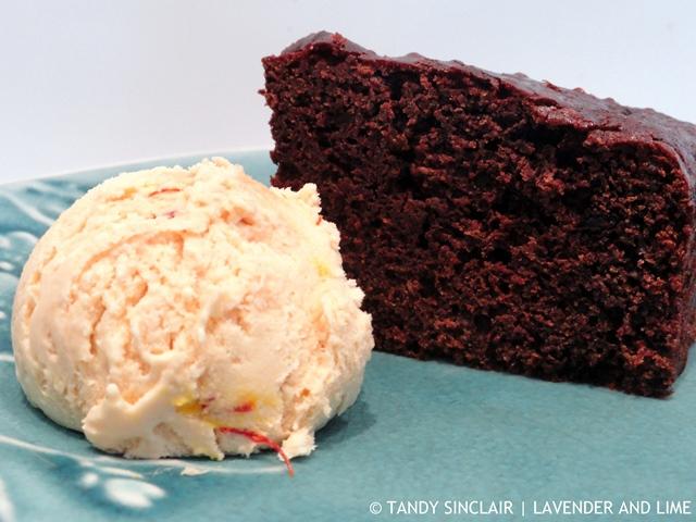Sourdough Chocolate Cake With Saffron Ice Cream