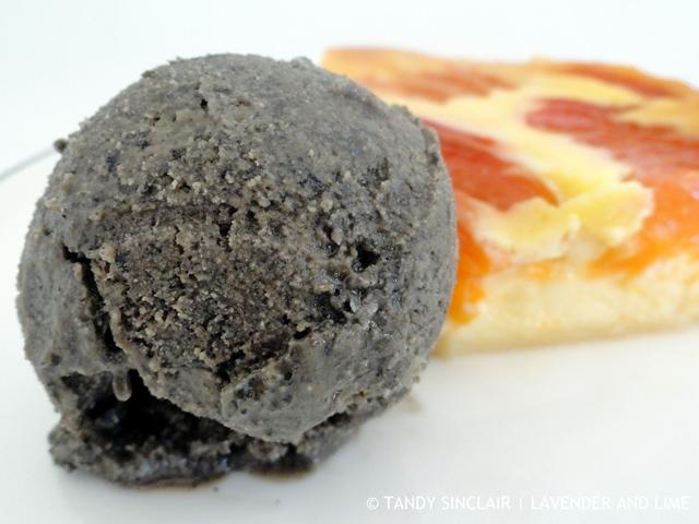 Apricot Clafoutis With Black Sesame Ice Cream