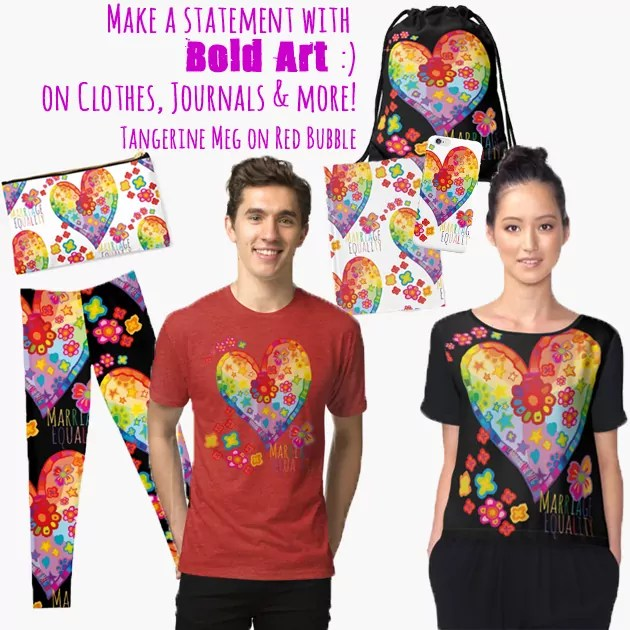 """A selection of Red Bubble objects with a graphic heart design, and the wording """"Marriage Equality"""" on them."""