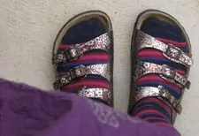 striped socks and golden patterned sandals photo foot selfy