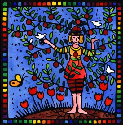 woman who is indeed a plum tree, grateful for ideas and creativity, flowers and peace. Has a rainbow border. Lino print, hand colored