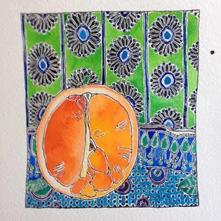 orange (fruit) and blue background with green - lots of patterns