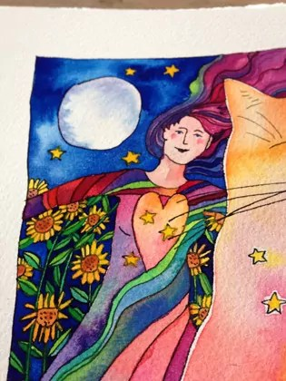 Sparkles of light and life radiating from a cat's purr to the woman's heart. A flower field lit by the moon is the scene.