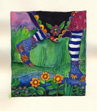 38 of 50 birthday bold art project paintings_the shoes of sincerity, worn with stripey tights & a flowery coat