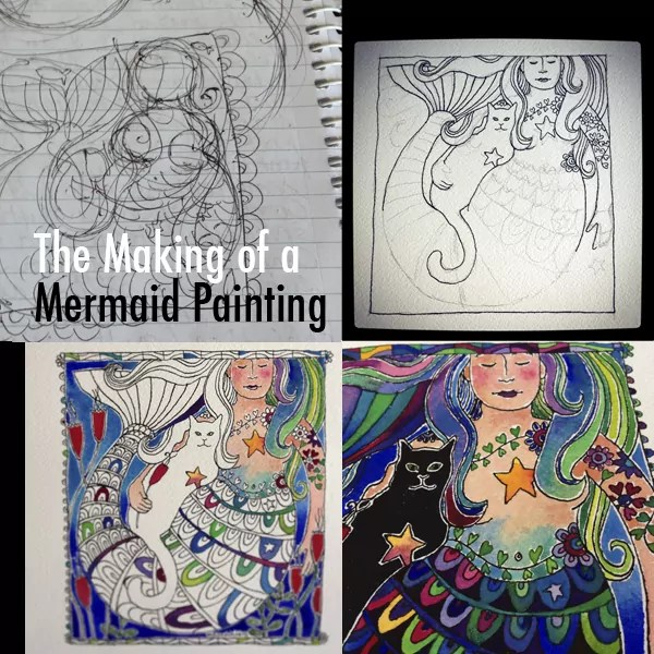 Work in Progress - the making of a mermaid painting for my Birthday Bold Art Project - from sketch to finished watercolour painting