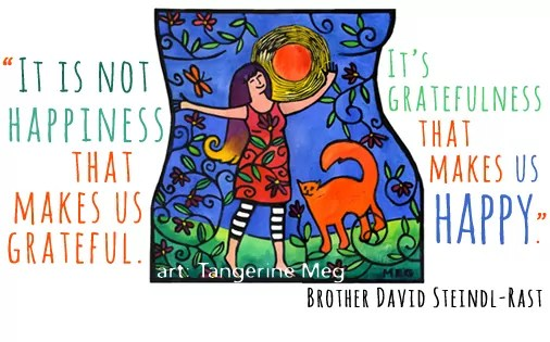 colourful art of woman and her cat in the sun; paired with David Steindl-Rast gratitude and happiness quotation