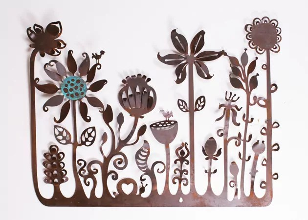 cut metal flower landscape by Anna Small