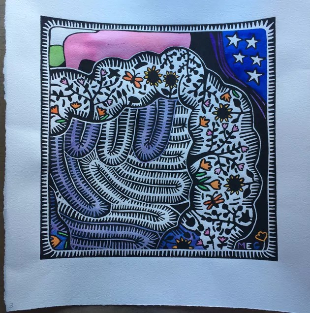 Partially painted lino print of garden in a gut image