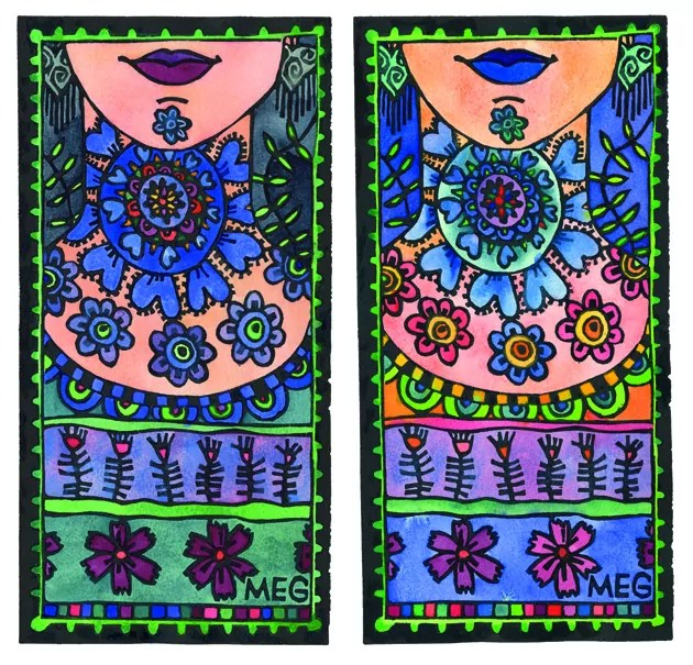 Two lino prints of women's necks decorated in different colourful patterns