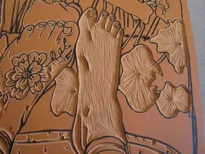Section of work in progress carved lino block