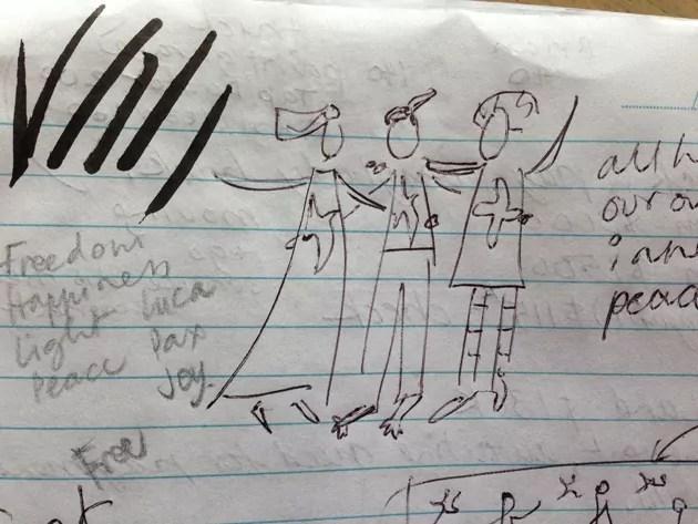 biro sketch in a note book for Friends lino print