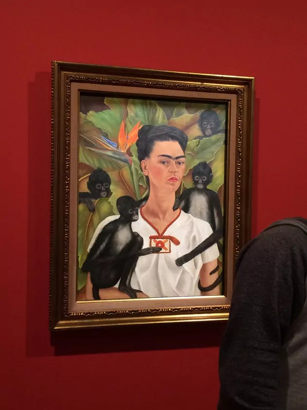 Frida Kahlo self portrait with monkeys, framed in gold and hanging on deep red wall
