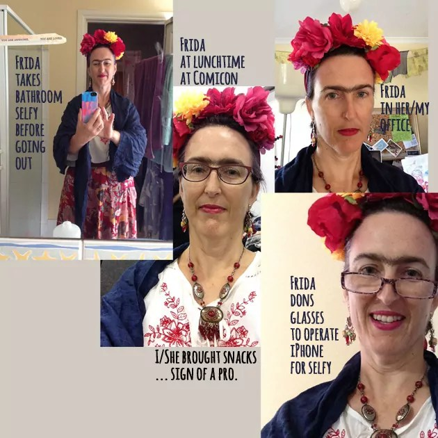A collage of 4 photos of Tangerine Meg dressed up as Frida Kahlo ready for Oz Comic-Con 2014.