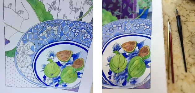 Two pictures of painting in progress, the left is incompletely coloured with detailed line work still showing; the right is a close up of a complete section, shown with tools alongside.