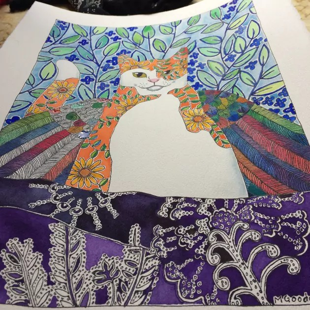 Almost completed painting of winged cat