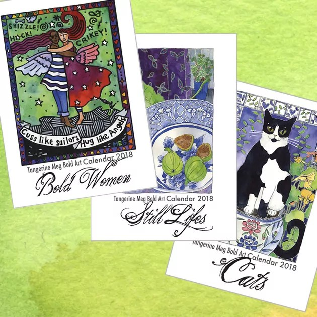 water colour background overlaid with bold art calendar covers in themes: cats, bold women and still lifes