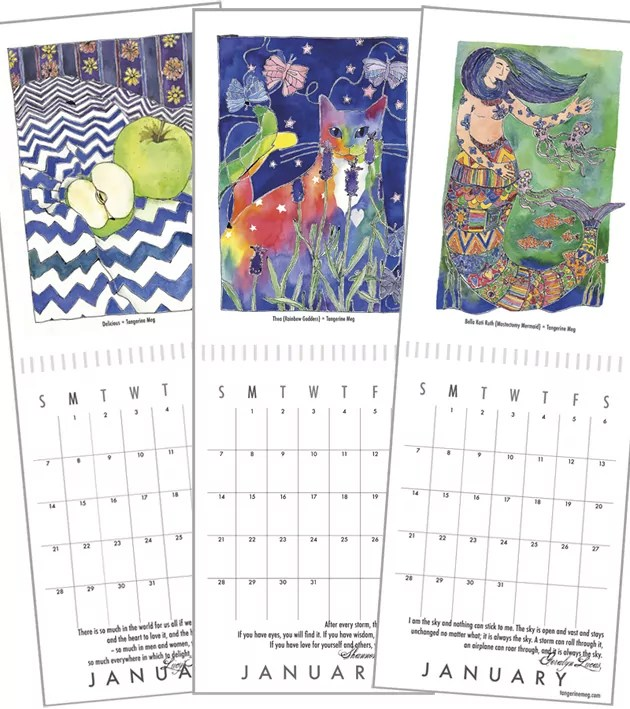 page spreads of 3 calendars with fruit, cat and mermaid pictures.