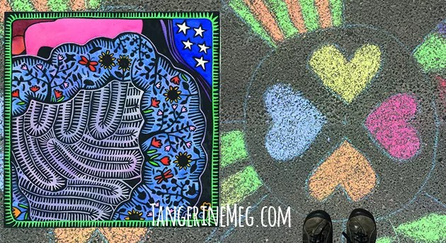 """the left image is a hand coloured lino print entitled """"A Veritable Garden"""" showing the human digestive tract as a garden; the right image is a pair of walking shoes aligned with a compass of chalk hearts on a road"""