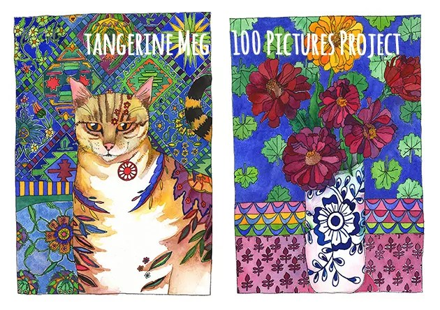2 artist pictures. The left a tabby cat with patterned background; the right a blue and white vase holding zinnia flowers.