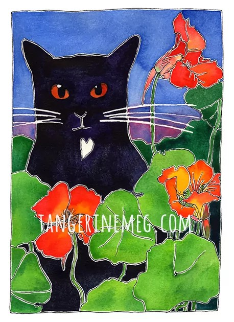 black cat amongst nasturtiums artwork by Tangerine Meg
