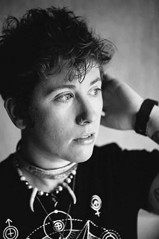 Black and white photo of Michelle Nickolaisen