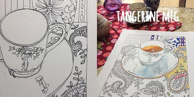 on the left, a line drawing of a cup and saucer with patterned background. On the right, the same drawing with painting started and some of the items on the table behind the painting in progress