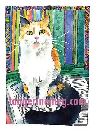Watercolour Portrait of a ginger black and white kitty, seated on a newspaper, with green beans laid out behind her. background is stripes and there's a decorated border at the top