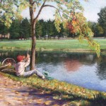 pastel of boy sitting on the ground preparing to go fishing at a pond with his bicycle nearby