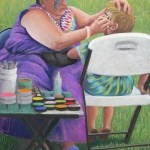pastel of large woman painting face of small boy in white chair