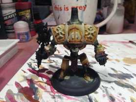 """2. Went in with a brush and blocked in the mid tone colors. P3 Menoth Base color with P3 Bloodstone Brown blended into the deeper recesses. I don't have a formula. Working by """"feeling"""" and imagining to myself where color should go."""