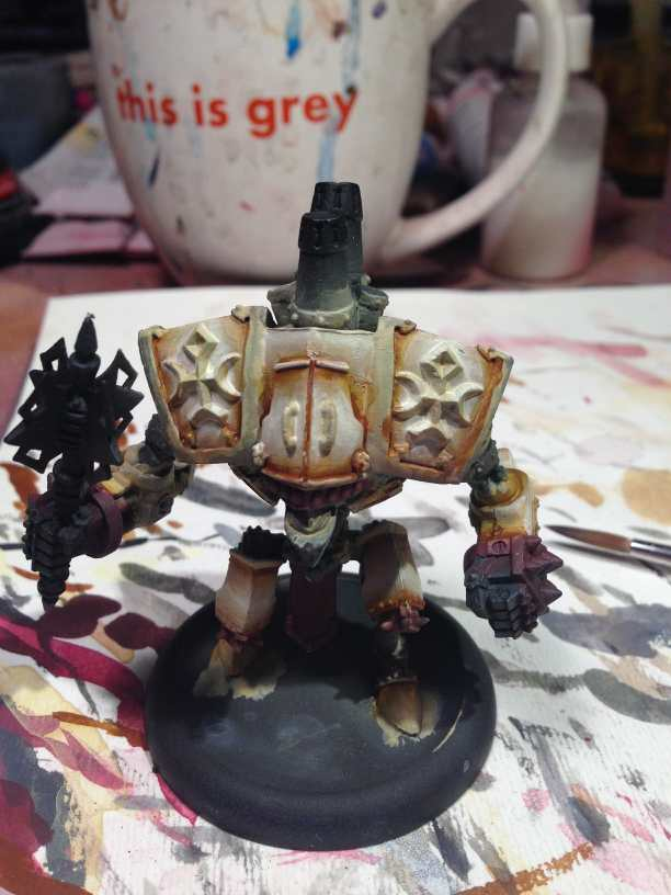 Menoth Crusader Warjack: Quick n' Dirty Paint Job - how to paint a menoth warjack - painting the crusader menoth miniature - warmachine painting - painting warmachine models for menoth - layering up primary color