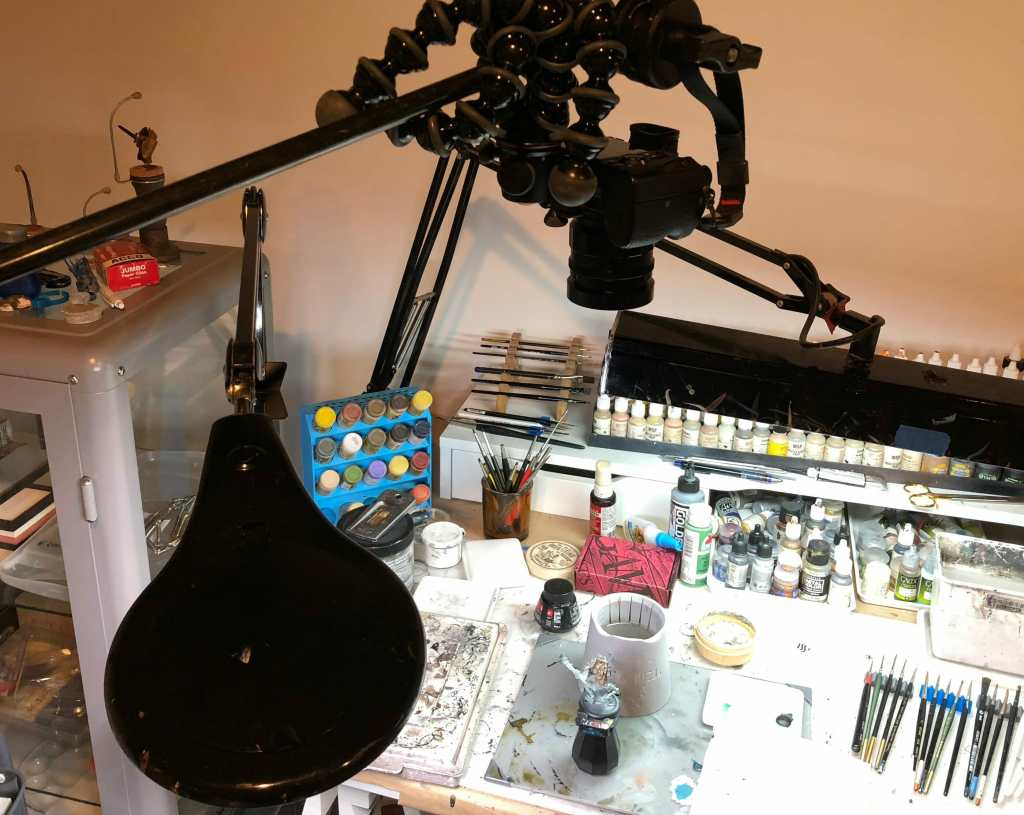 Camera Setup for Videography (Miniature Painting) - Grymkin Rattler - how to film youtube videos of painting miniatures - how do I film myself painting miniatures - best lights for making painting videos