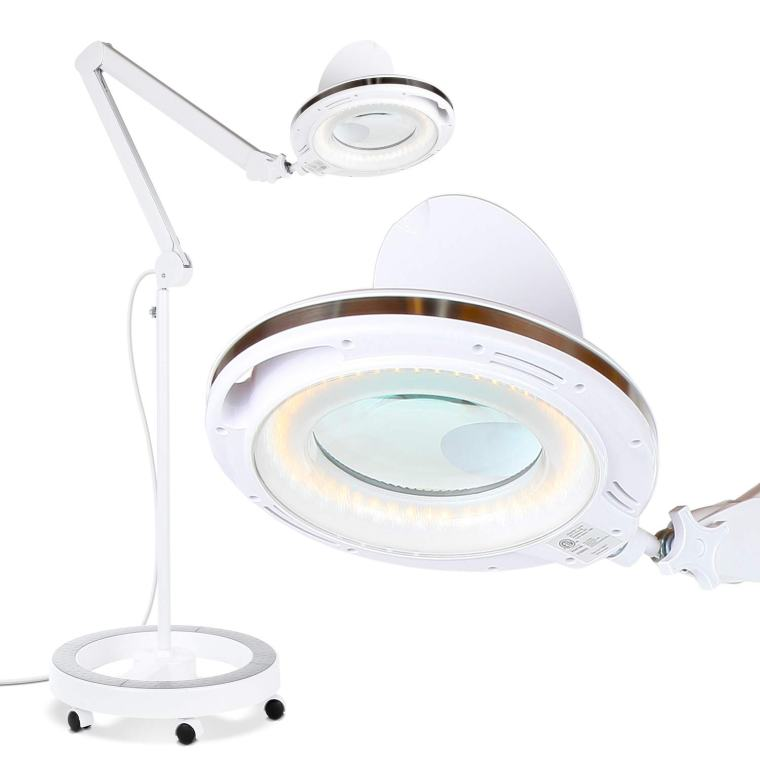 Best magnifying lamps for painting miniatures and models - Brightech LightView Pro LED Magnifying Glass Floor Lamp best magnifying lights for miniatures and models - best magnifying glass for modeling.