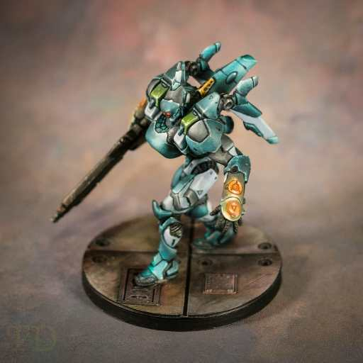 infinity tag painted with airbrush and acrylic model paints - best airbrushes for painting miniatures