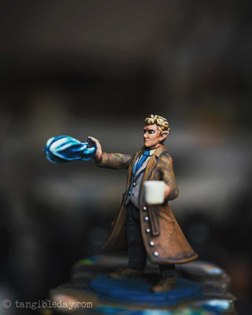 Photography to check for imperfections in a painted miniature - side view of the herofroge miniature painting.