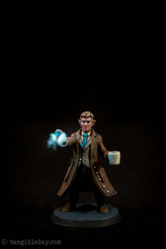 Studio photograph of the painted 3d printed heroforge miniature - using a photo light box booth